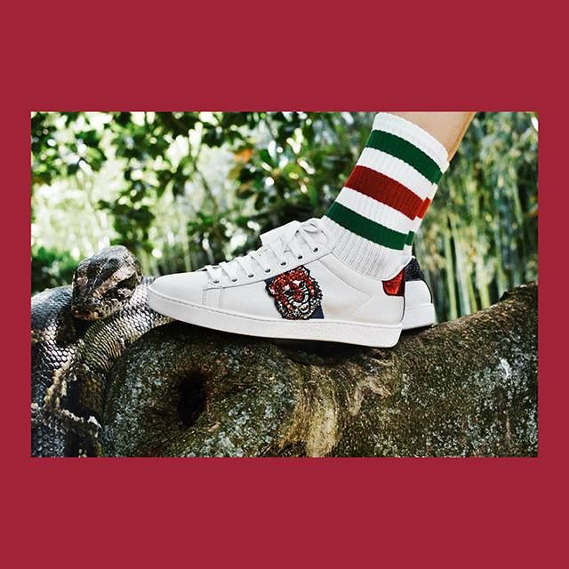 Lily Of The City Introducing the shimmering new embroideries on the Gucci Ace sneaker from Gucci Gift.