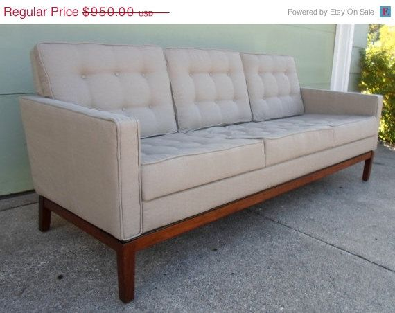 FALL SALE Vintage Mid Century Modern Grey Tufted Sofa, Davenport, Couch, Dark Walnut Leg, With All New Foam and Upholstery