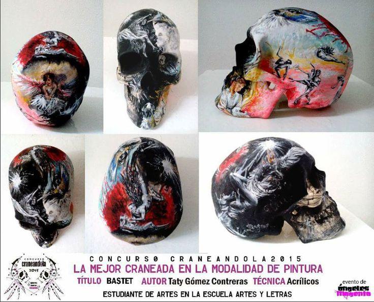 La obra ganadora en la modalidad de #pintura de la 3ra edición del #concursocraneandola evento de la marca @angelesmagenta #skull #skullart #colores #calavera #paint #pintura