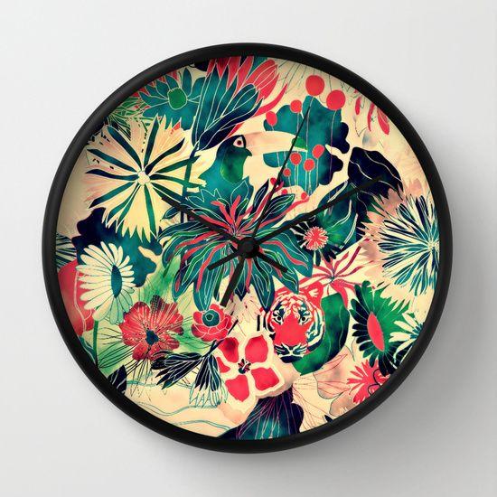 Jungle wall clock by Demi Goutte; $30. https://society6.com/product/jungle-78m_wall-clock?curator=bestreeartdesigns
