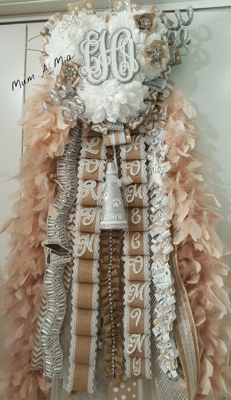 Burlap Homecoming mum by Mum A Mia Shipping is available  832-231-8628