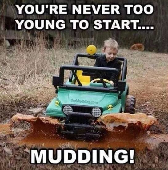 They're never too young to start mudding❤️ this will be my child!