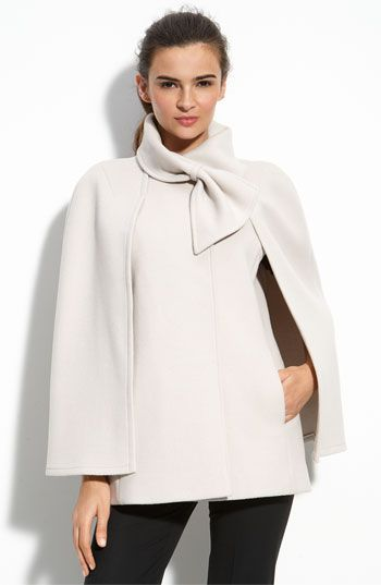 A twist on the classic winter coat, this cape is a fun transition from heat to chic! #Tahari #Nordstrom