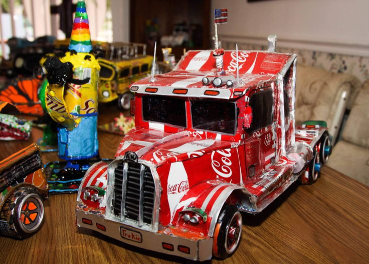 Steven Spittka made this truck from soda cans. He has made hundreds of items from soda cans over the past three years.