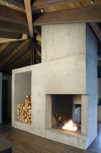 central fireplace.