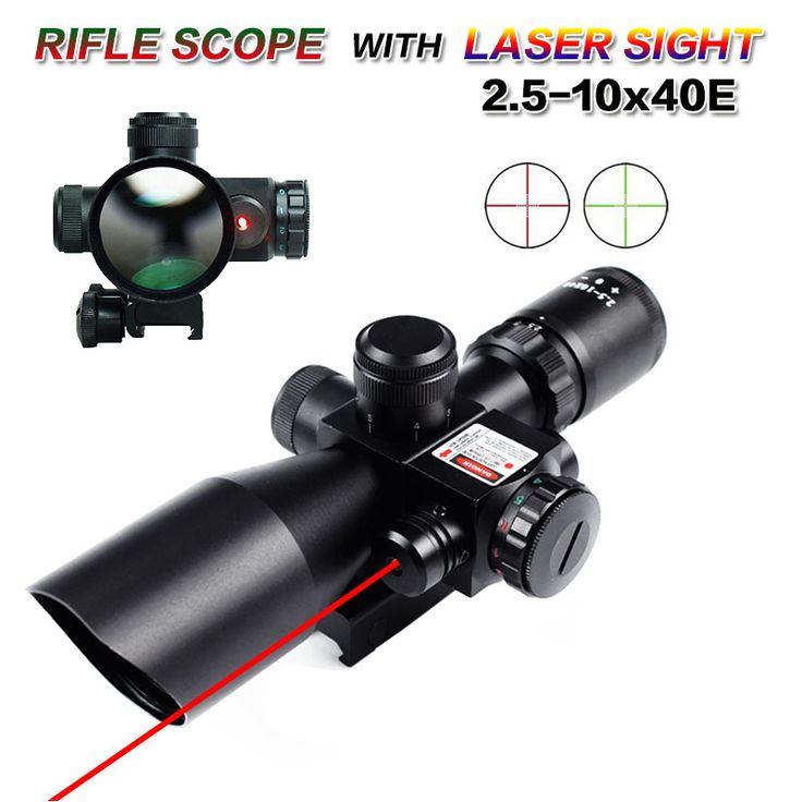 Охота Тактические Оптика 2.5-10x40 ER Красный/Зеленый Горит Сетка Прицел Red Dot Лазерная Combo Airsoft Пушки Винтовки Сфера