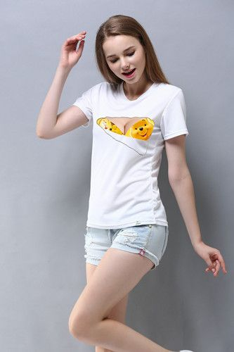 F1587 Woman Big Breasted Funny T Shirts Superman Fake Bra Torn Sexy Tees 3D Creative Design T-Shirt Tops