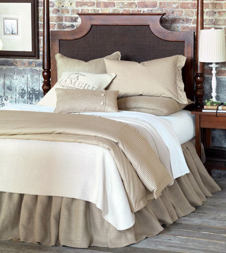 King size Beautiful rustic charming ivory burlap bed