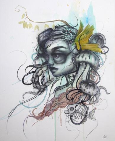 """Agua Mala"" original painting by Tatiana Suarez - http://spoke-art.myshopify.com/products/tatiana-suarez-agua-mala"