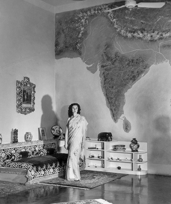 Wall map! Princess Durru Shevar (1914 – 2006) daughter of the third marriage of Sultan Abdul Mejid Efendi of the Ottoman Empire, son of His Imperial Majesty The Sultan Abdülâziz, Emperor of the Ottomans and the last heir apparent to the Imperial Ottoman throne and the last Caliph of the Muslim world. She held the titles of Princess of Berar and Imperial Princess of the Ottoman, Wife of Azam Jah eldest son of the seventh and last Nizam of Hyderabad. Photo by Margaret Bourke-White