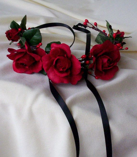 Red rose headband Bridal Flower Crown headpiece by AmoreBride