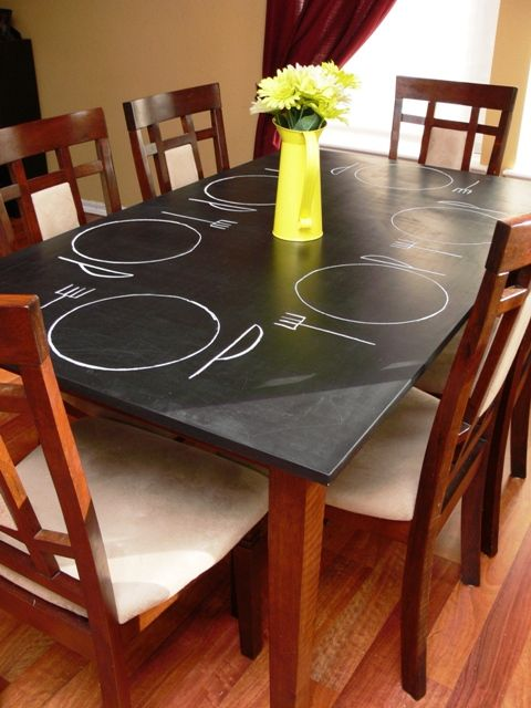 chalkboard painted table...super cool!