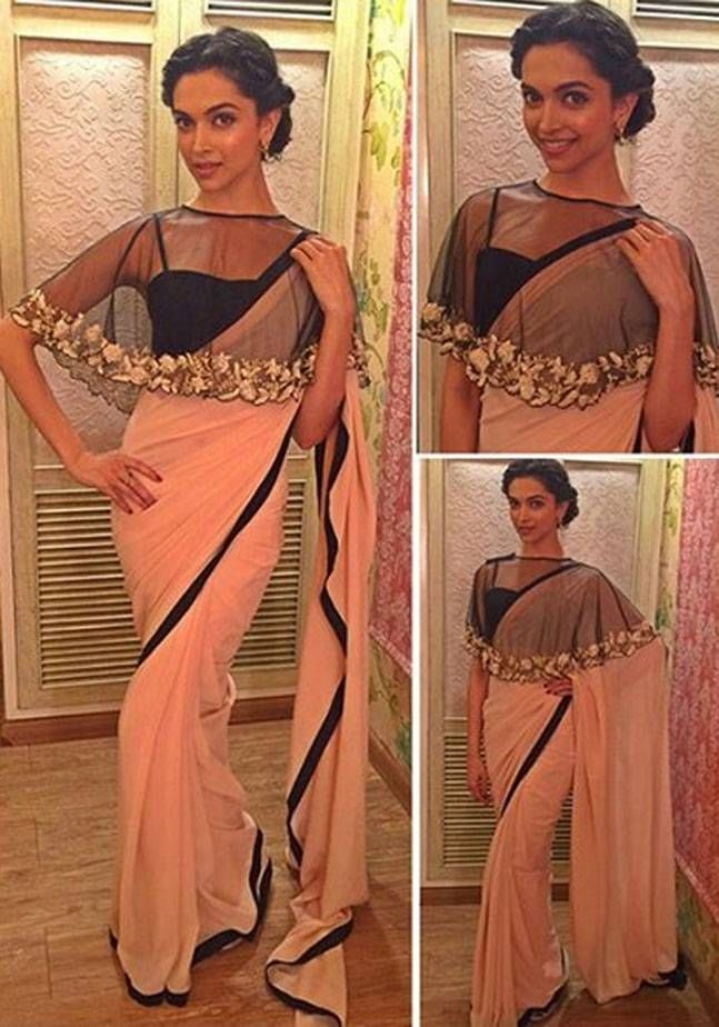 Buy Bollywood Replica Deepika Padukone peach and black colour georgette saree in Mauritius, Fiji, Australia, UK, USA and Canada through online shopping. This bollywood lehenga comes with the worldwide free shipping offer