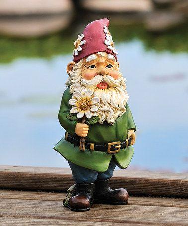Love this Green & Red Daisy Gnome Garden Statue on #zulily! #zulilyfinds