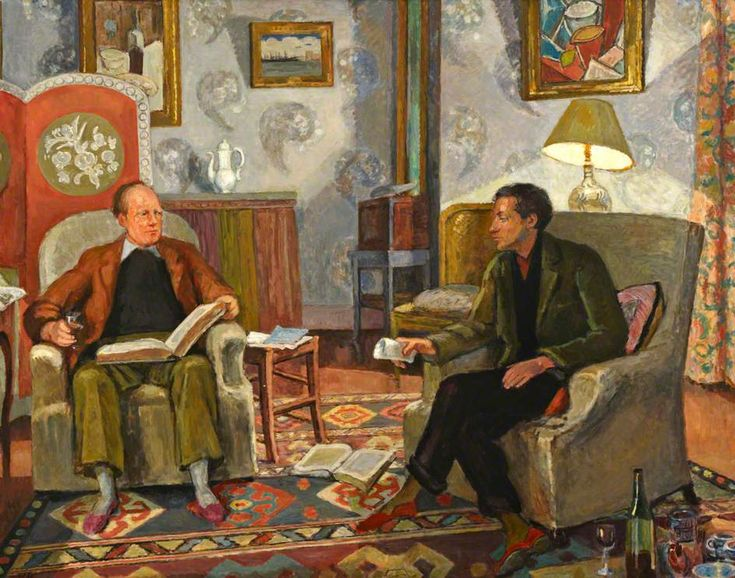 Vanessa Bell: Interior Scene, with Clive Bell and Duncan Grant Drinking Wine