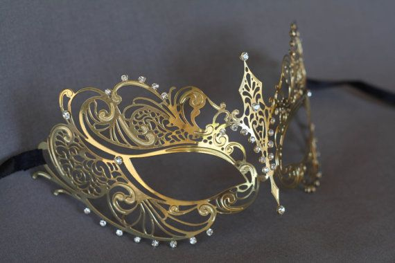 Gold masquerade mask. masquerade lace metal by Stefanelbeadwork $19