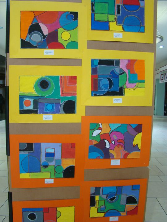 Second grade geometric abstract paintings 2nd art lesson project