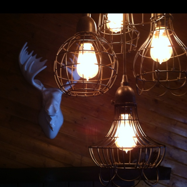 Industrial light fixtures at the White Moose Lodge