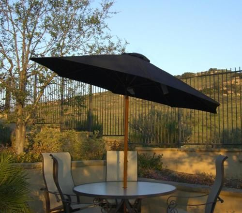 9' Outdoor Patio Umbrella with Hand Crank and Tilt - Black and Brown
