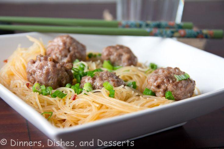 Asian Meatballs with Spicy Rice Noodles | Meat | Pinterest ...