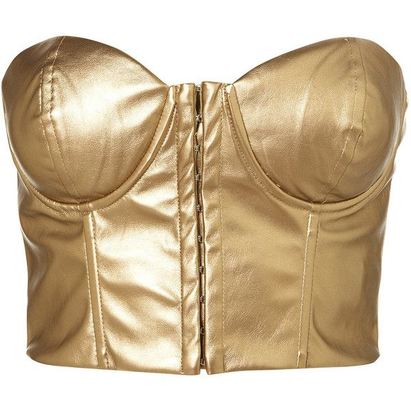 Gold Bralet by Rare** ($25) ❤ liked on Polyvore featuring tops, topshop, bra, corset, shirts, brown tops, gold corset, brown corset, bandeau shirts and bandeau tops