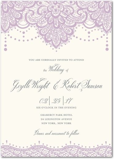 Lasting Lace - Signature White Wedding Invitations - Mindy Weiss - Fog - Neutral : Front