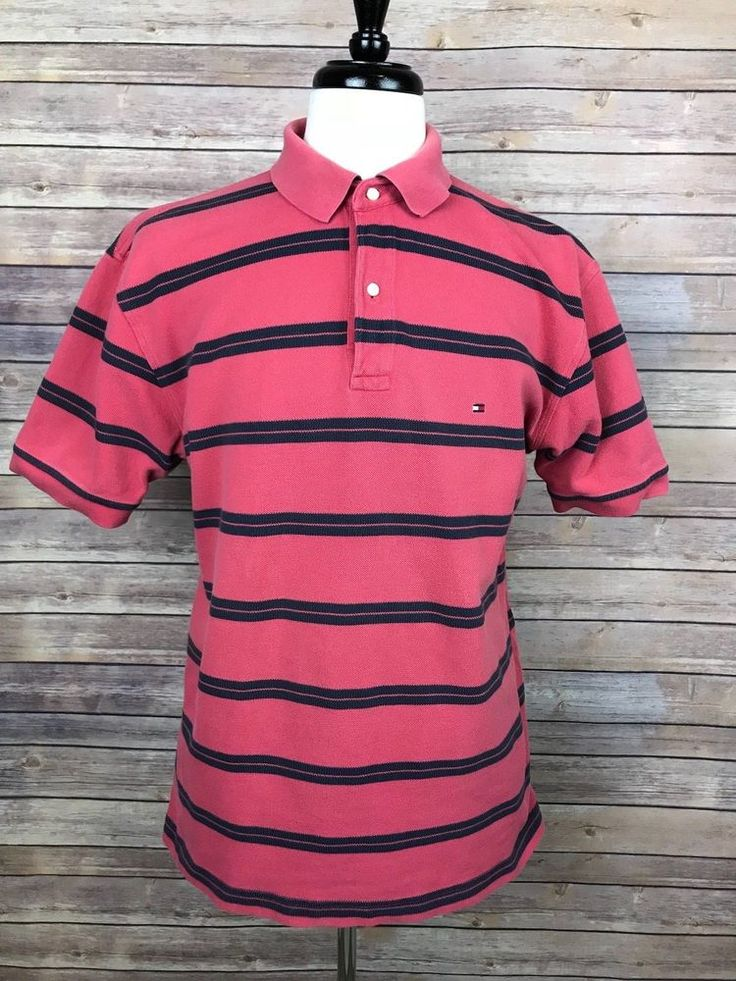 Tommy Hilfiger Striped Polo Shirt, Size Large