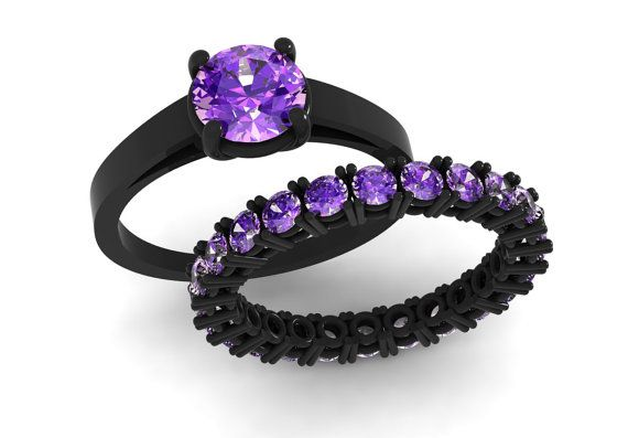14k Black Gold Elegant Wedding or Engagement Set with an Eternity Band  with Amethysts Item# WR-0330