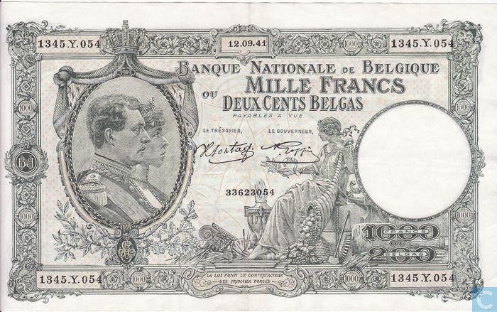 Front side of the Belgian banknote of 1000 Francs = 200 Belgas, by the National Bank of Belgium, from 1941.