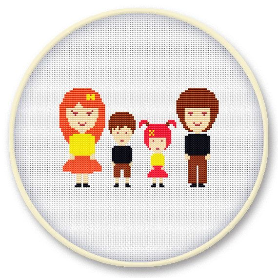Instant digital download - Counted cross stitch pattern: Our Family - Mother, Father, Son & Daughter
