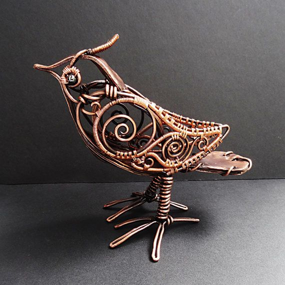 Copper Steampunk Bird Sculpture Wire Wrapped por sparkflight