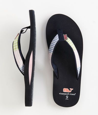 Womens Flip Flops: Patchwork Seersucker Flip Flops for Women – Vineyard Vines