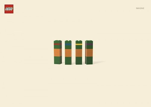 """The ad campaign """"Imagine"""" for LEGO uses basic shapes/colors to mysteriously depict cartoon characters."""