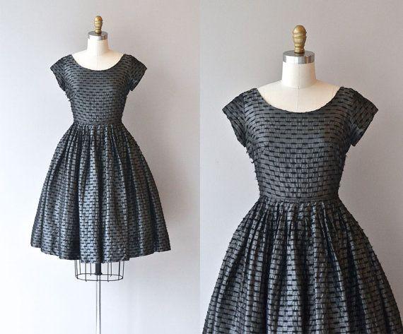 Metal Knit dress | vintage 1950s metallic dress • vintage 50s dress