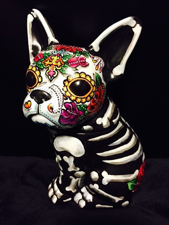 Day of the Dead Painted Sugar Skull French  Bull Dog Statue Figurine Pet Urn