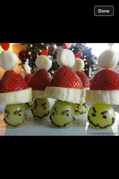 Grinch Kabobs.  I've seen them turn out better than these in the photo.  Use bigger grapes and forget the face.  They were on facebook and as cute as could be.  They would take no more time than doing cookies and are healthy.   With diebetics, they could even get a few of these from the traditional cookie table.