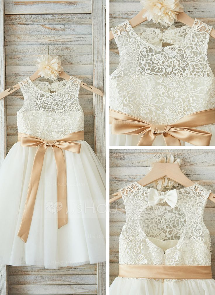 A-Line/Princess Scoop Neck Knee-length Sash Bow(s) Tulle Lace Sleeveless Flower Girl Dress Flower Girl Dress