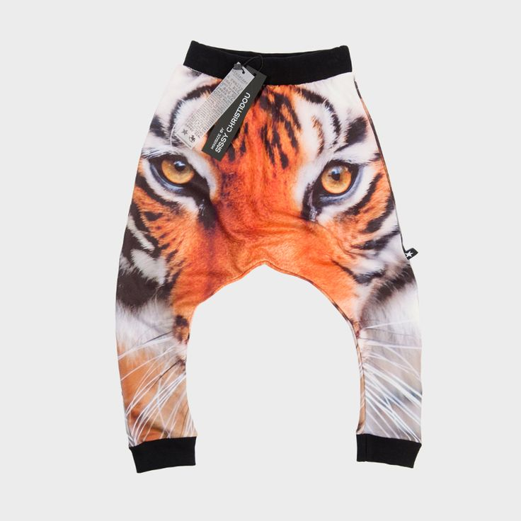 Kids' harem pants with a tiger print