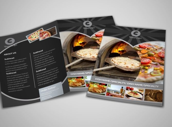 Awesome Pizza Restaurant BiFold Brochure Template  Catering