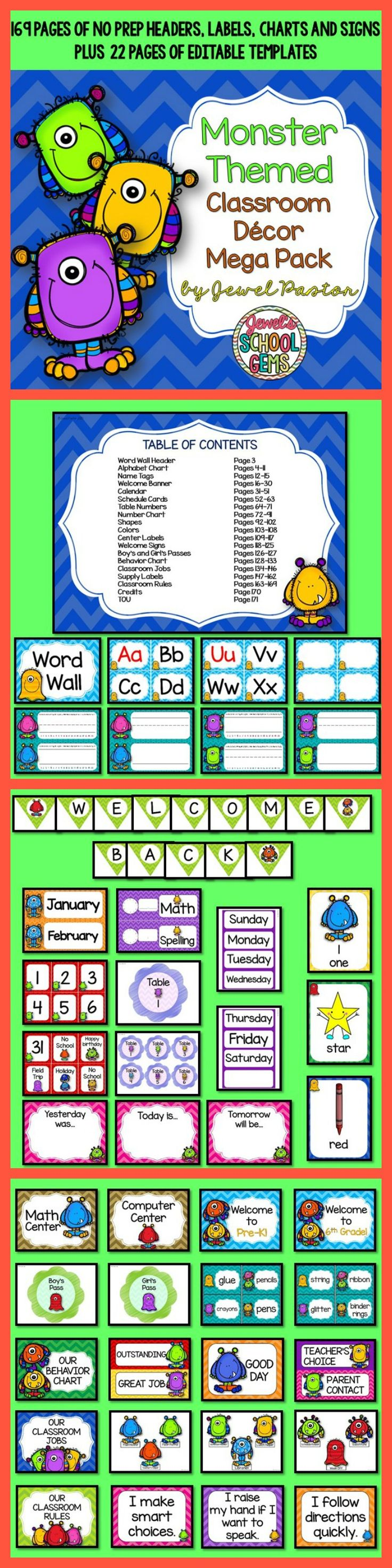 Monster Theme : Monster Theme   This Monster Themed Classroom Decor Mega Pack comes with 169 pages of NO PREP HEADERS, LABELS, CHARTS AND SIGNS plus 22 pages of EDITABLE PARTS/TEMPLATES.