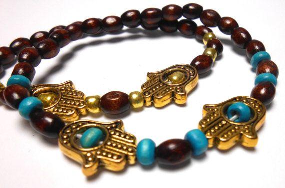 Hamsa Hand Stretch wood bead Bracelets  Arm Candy  by ShopJosette