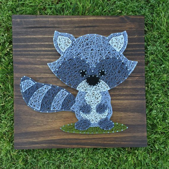 Adorable little Raccoon on a grass patch The example shown is on a 12x12 board Stain options are shown in the last picture, just be sure to include the color or stain you would like in the note to seller. We use high quality pine wood for all of our boards, and due to the beautiful grains in the wood the stains may appear slightly different in person. Sawtooth hangers will be included for easy hanging! If youre interested in different sizing, color options or have any custom ideas- feel…