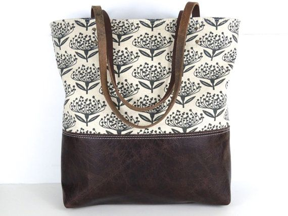 Floral Tote Bag Skinny Laminx Bag leather bottom by RedStaggerwing