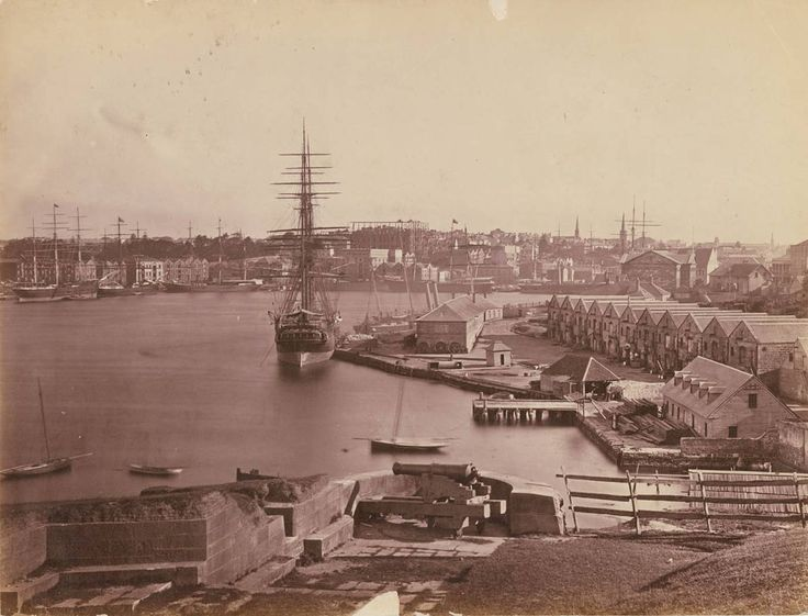 Campbell's Wharf and Circular Quay from Dawes Point fortifications.  State Library NSW, c 1876.