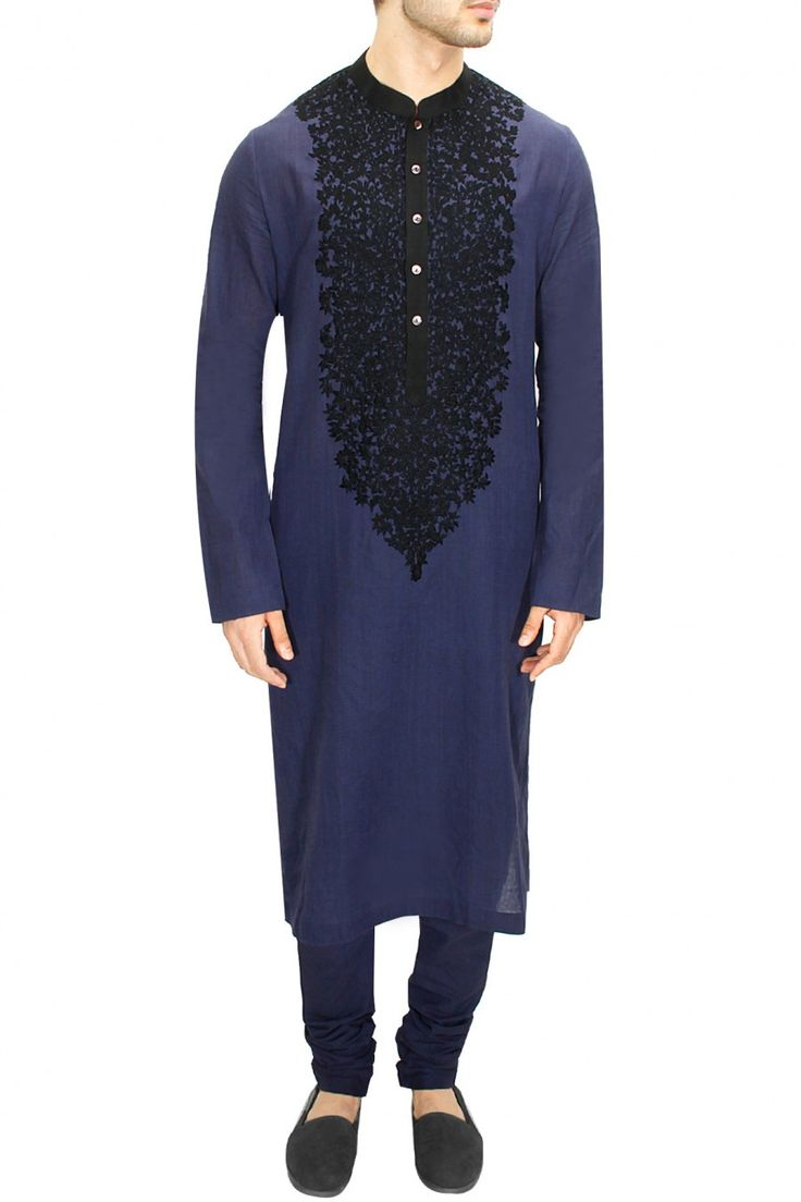 LAIDBACK LUXURY : Dark indigo kashmiri embroidered kurta set by Sabyasachi. Shop now at www.perniaspopups... #fashion #designer #sabyasachi #shopping #couture #shopnow #perniaspopupshop #happyshopping