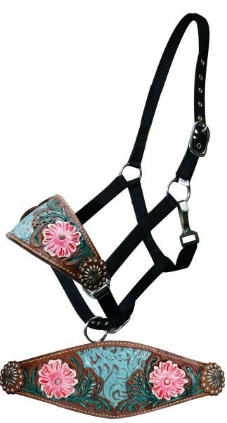 Showman Adjustable nylon bronc halter filigree inlay and painted floral tooled noseband