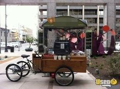 Mobile Coffee Vending Cart | Bike Cart for Sale in Pennsylvania- this is a coffee pastry street vending cart that is bicycle driven and comes with an enclosed trailer for hauling. Can be used for coffee/tea, smoothies, pastries, etc. Has all equipment needed to get started. See details for features.