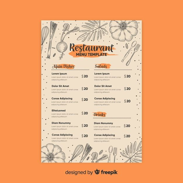 Download Elegant Restaurant Menu Template With Drawings For Free Menu Restaurant Menu Template Restaurant Menu Template