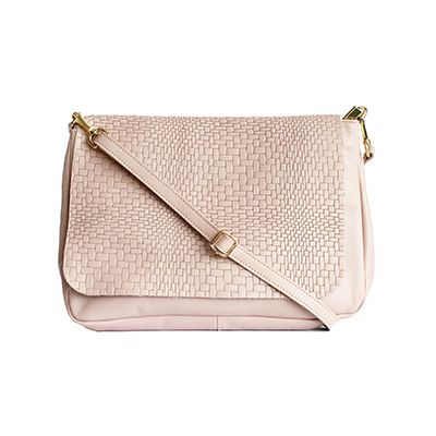 Cora Italian Light Pink Leather Cross Body Satchel Bag - £64.99