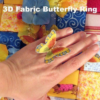 DIY 3D Fabric Butterfly Ring
